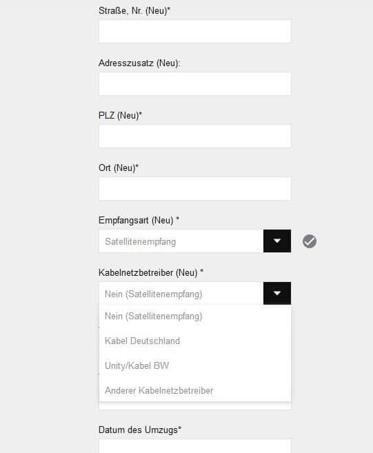 Sky Online-Formular für Umzug im Sky Kundencenter