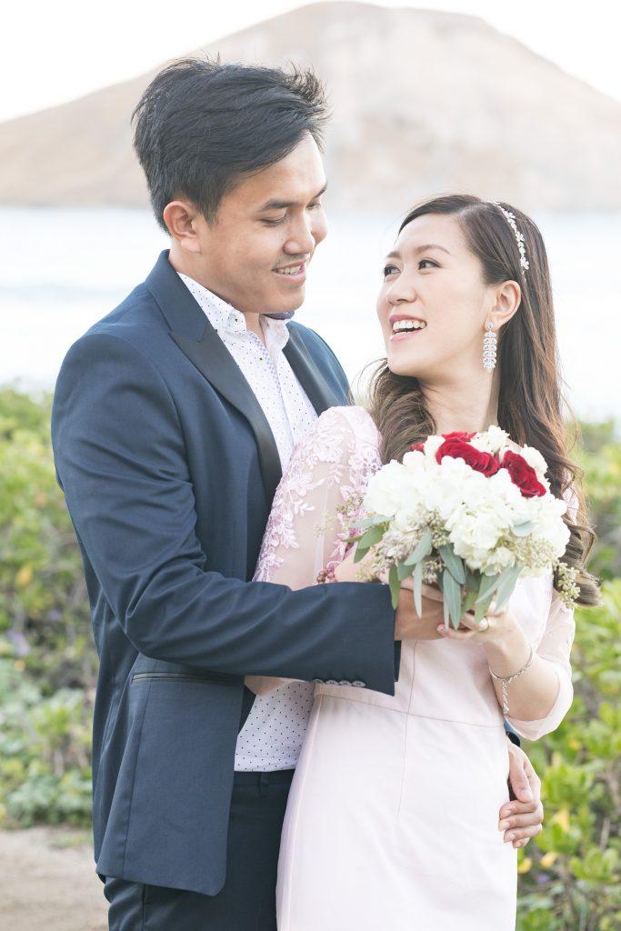 bride looks back at groom