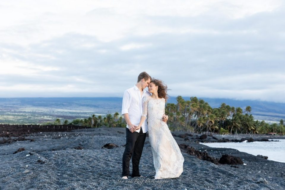 bride and groom gaze at each other at Waikoloa