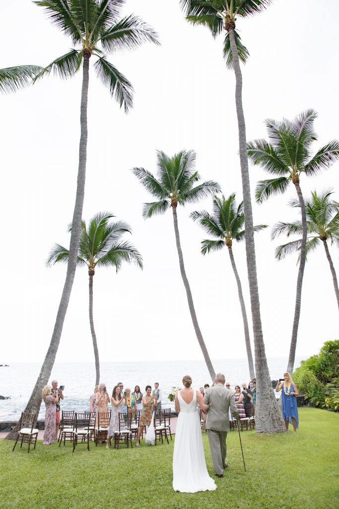 father and daughter walk down aisle Kealakekua Bay Wedding Venue