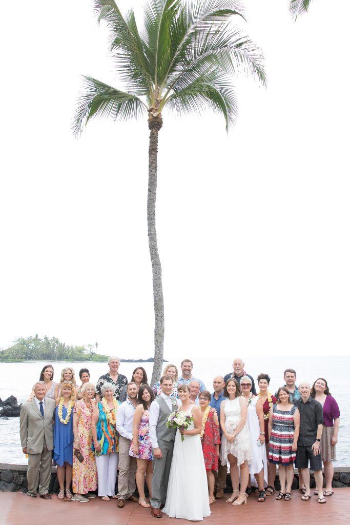 group photo of guests Kealakekua Bay Wedding Venue