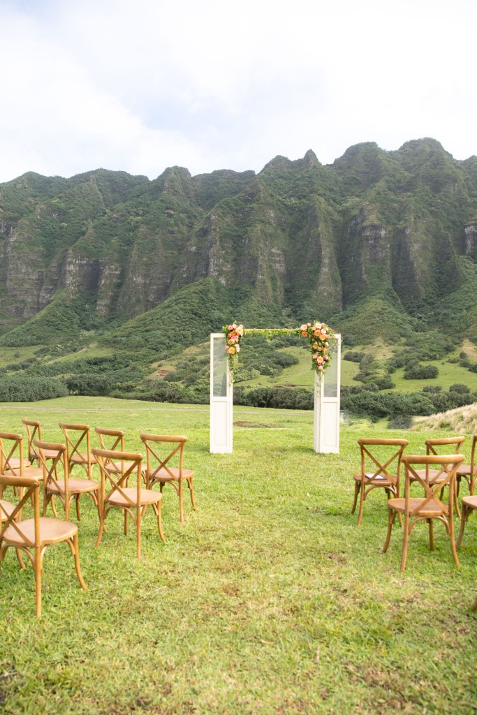 jumanji Kualoa wedding venue arch door with flowers