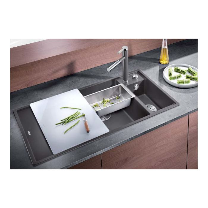 blanco sink 523477 100x51cm puradur white right with glass cutting board