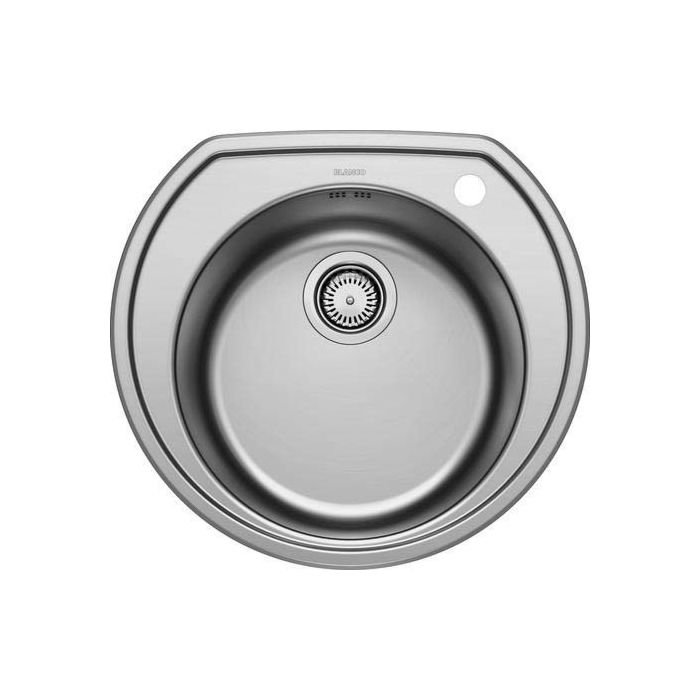 blanco rondoval stainless steel sink 513313 53 5x49cm stainless steel brush finish 3 2000 2 basket strainer