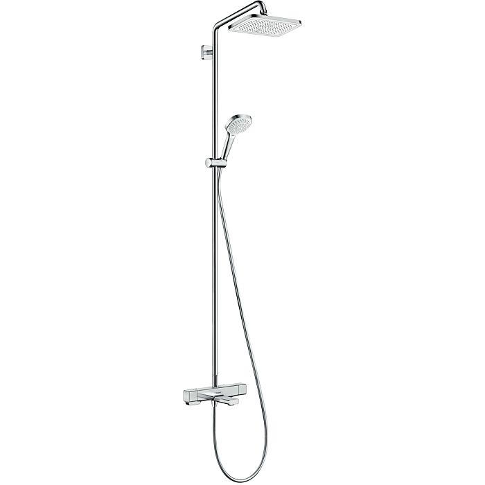 hansgrohe croma e showerpipe 27687000 chrome 1jet avec mitigeur thermostatique de baignoire