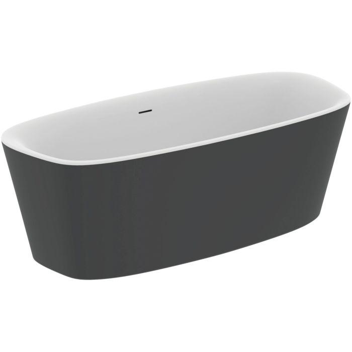ideal standard dea baignoire k8721v3 180 x 80 cm blanc noir mat a poser