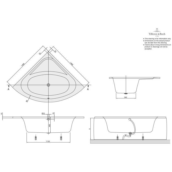 villeroy boch baignoire duo ba140lfo3v01 loop friends square 140 x 140 cm d angle blanc