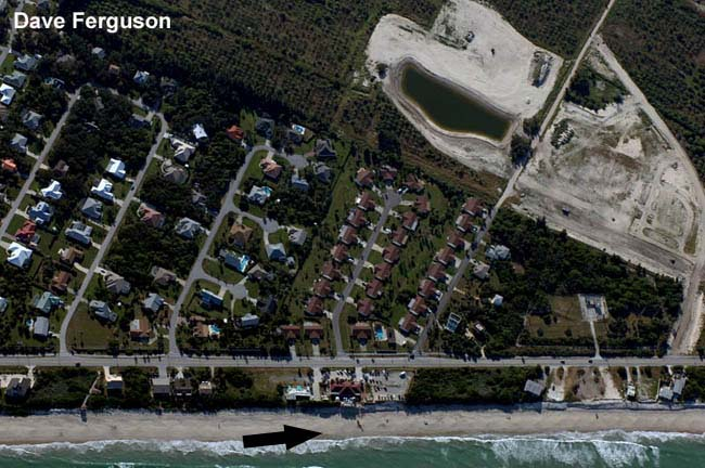 Photo of the beach from directly overhead under canopy at approximately 1500 FT