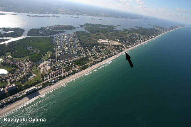 Photo of the beach from the south under canopy at approximately 3000 FT