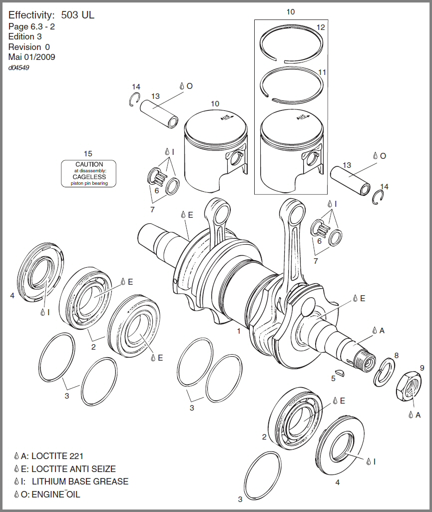 medium resolution of 503 crankshaft main bearings pistons diagram