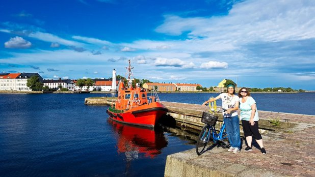 Biking in Karlskrona Harbor