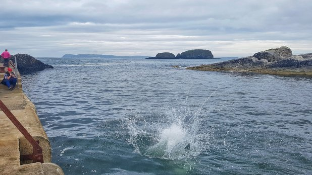Jumping Into Ballintoy Harbor