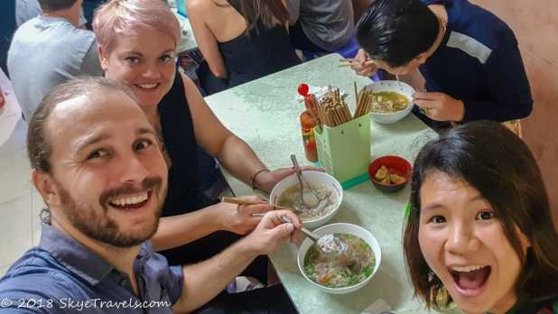 Selfie Eating Pho on Street Food Tour in Hanoi