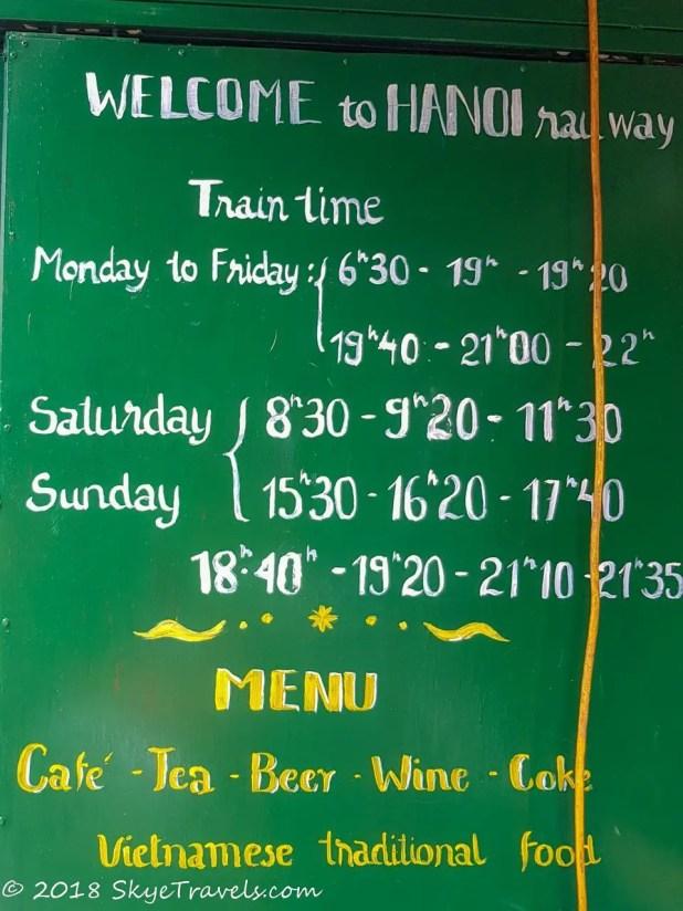 Hanoi Train Street Schedule