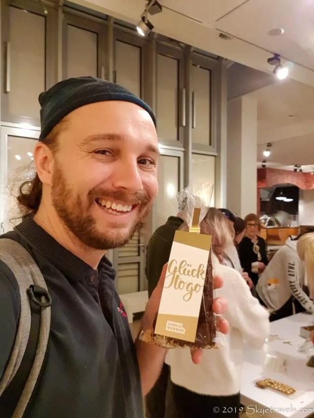 Selfie at Chocoversum with Chocolate Bar