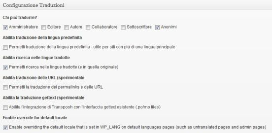 Transposh configurazione traduzioni