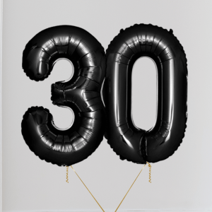 Black Number Helium Balloon
