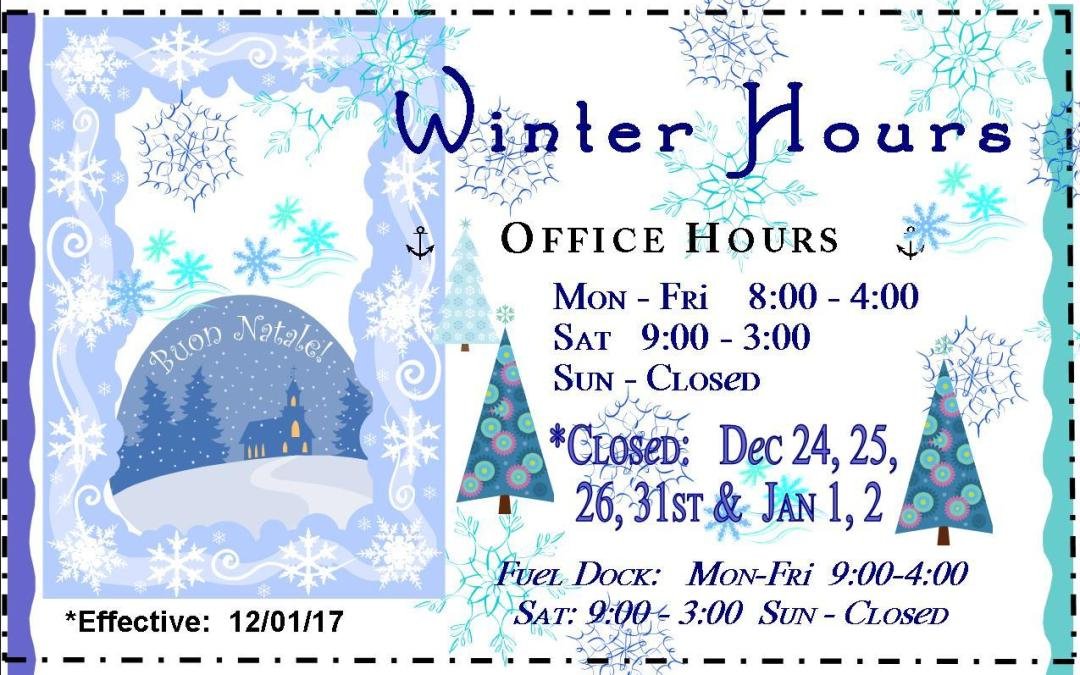 New DECEMBER Hours for Skyline Marina!