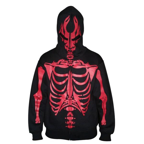 Mens Black-red Full Face Skeleton Skull Hoodie - Xxlarge
