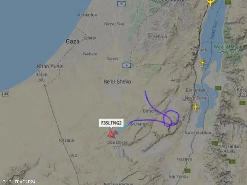 مسار المقاتلة الحربية الإسرائيلية بعد رصدها فوق النقب