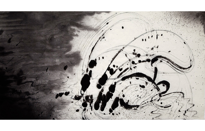 Sky Pape Ligurian Suite 3959a ink drawing on hanji paper