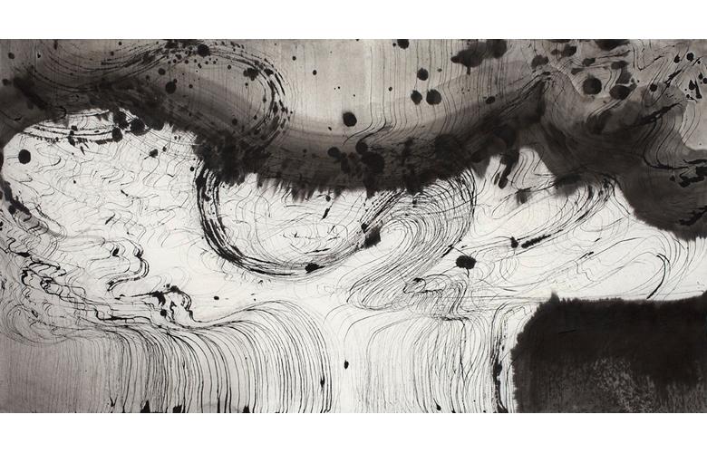 Sky Pape Ligurian Suite 9443 ink drawing on hanji paper