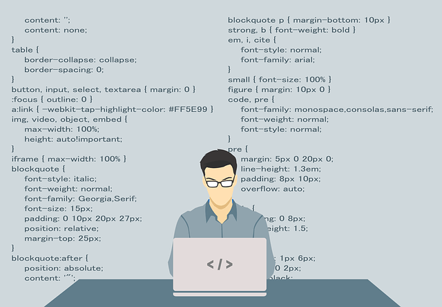 graphic: drawing of man sitting at computer creating code