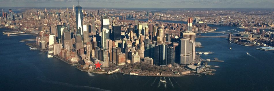 Aerial photo of Lower Manhattan and the location of the Skyscraper Museum on 39 Battery Place