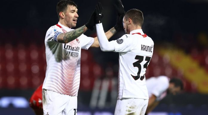 Photo Alessandro Garofalo / LaPresse January 03, 2021 Benevento, Italy soccer Benevento vs Milan - Italian Football Championship League A TIM 2020/2021 - Vigorito stadium.  In the pic: Alessio Romagnoli AC Milan, Rade Krunic AC Milan PUBLICATIONxINxGERxSUIxAUTxONLY Copyright: xAlessandroxGarofalo / LaPressex