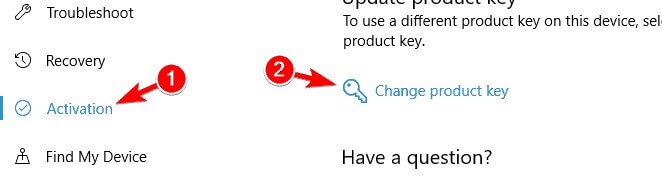 Active product key