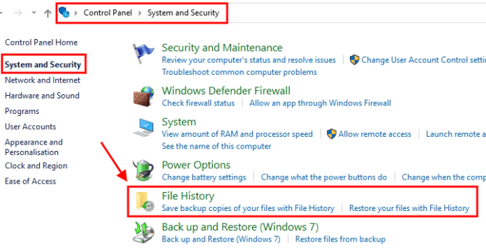 control panel system and security windows 10