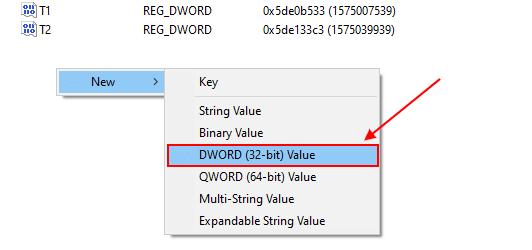 create a new dword (32-bit) value