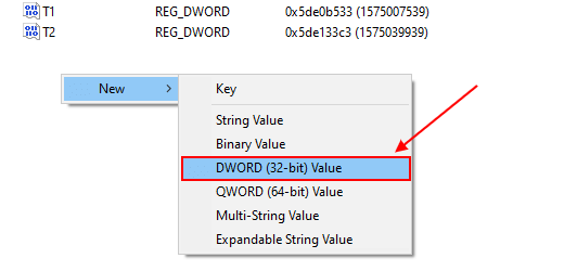 create a new dword (32-bit) value