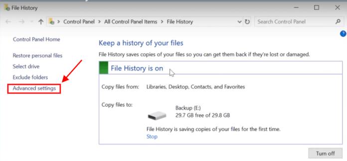 file history advanced settings windows 10