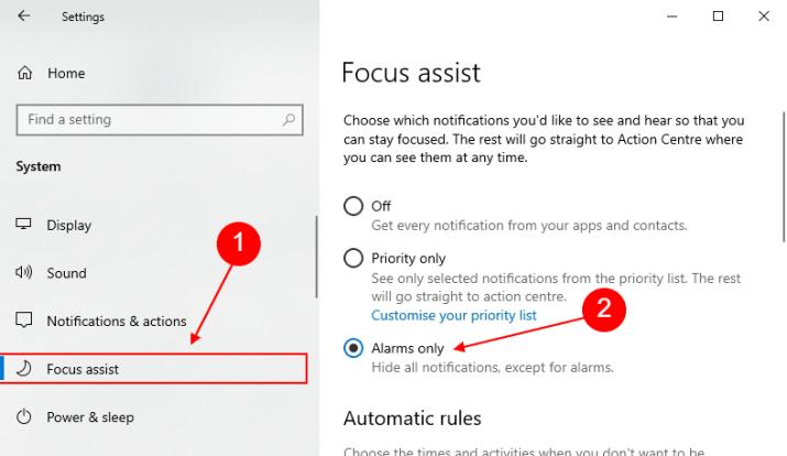 focus assist in windows 10