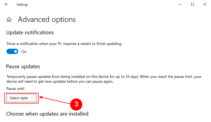 select date to pause updates