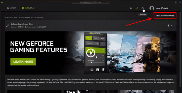 geforce experience check for updates