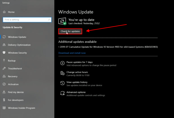 click on check for updates windows 10