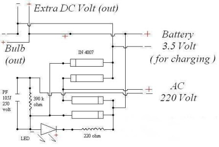 circuit diagram of DC Battery charging with LED torch light-1