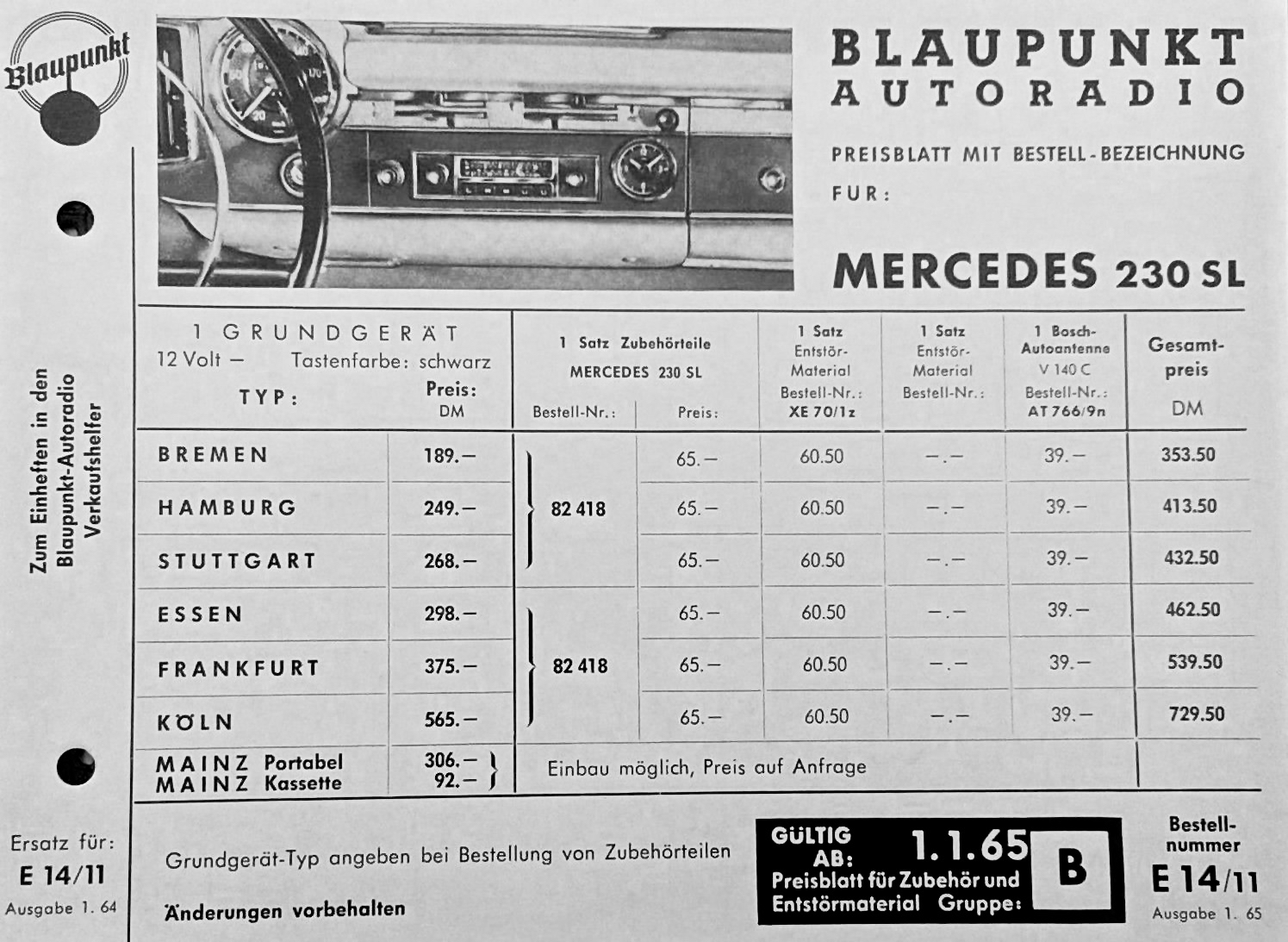 hight resolution of blaupunkt order form and parts list for 230sl