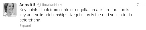 """Tweet from Anneli says: """"Key points I took from contract negotiation are: preparation is key and build relationships! Negotiation is the end so lots beforehand"""""""