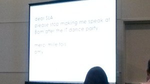 Amy's opening slide. We don't envy her 8am start! (ed.)
