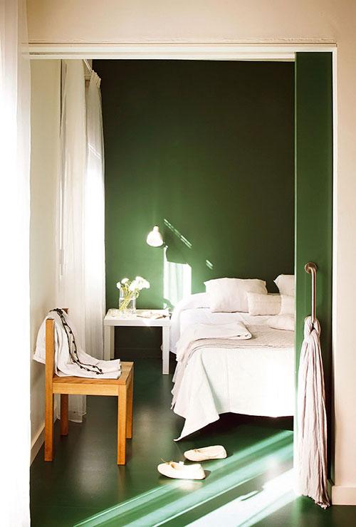 Slaapkamer In Groen Tinten