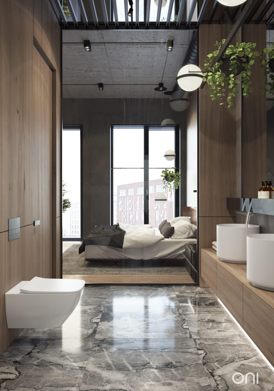 Luxe industrile loft slaapkamer in Moskou  Slaapkamer ideen