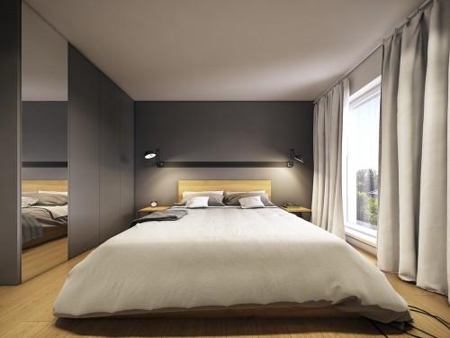 Moderne slaapkamer met grijze muren  Slaapkamer ideen