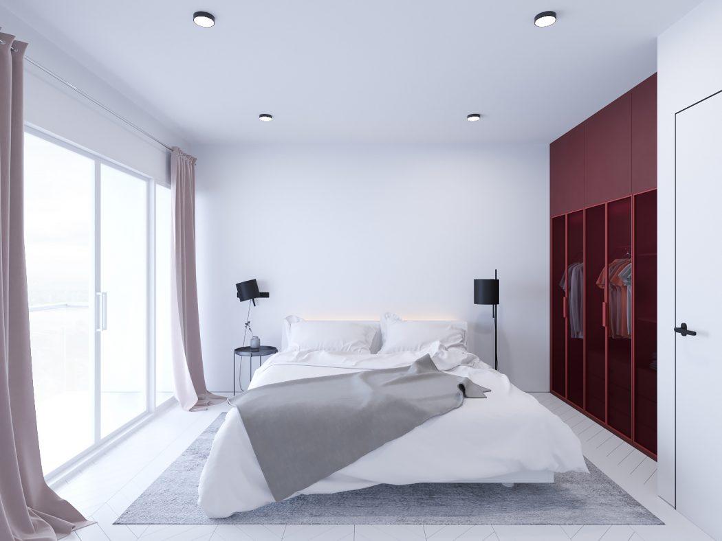 Moderne witte slaapkamer met roodtinten  Slaapkamer ideen