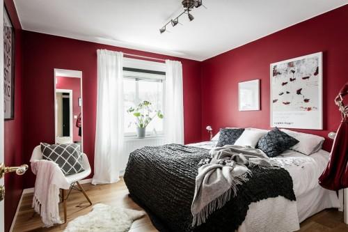 Slaapkamer met rode muren  Slaapkamer ideen