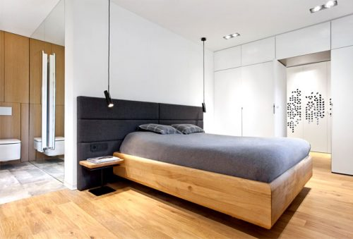 Slaapkamer ontwerp met inloopkast en open badkamer