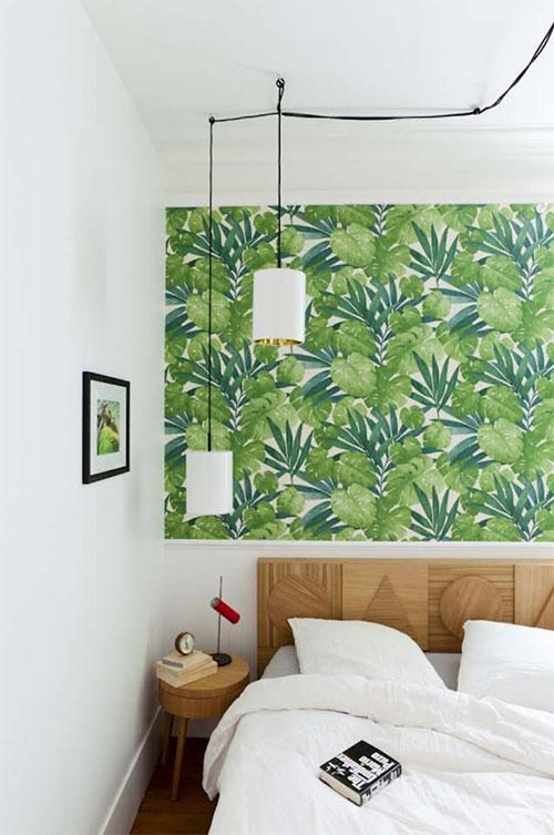 Slaapkamer met tropisch groen behang  Slaapkamer ideen