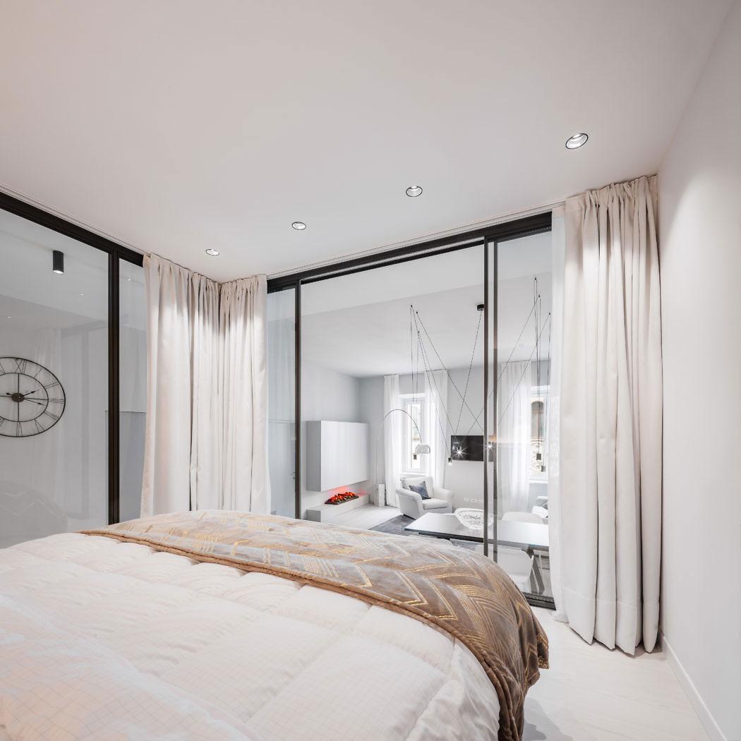 Splitlevel slaapkamer met glazen wanden  Slaapkamer ideen